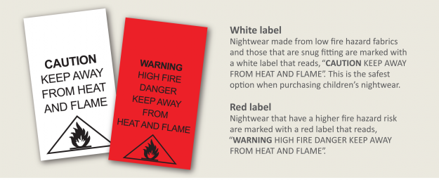 "White label - nightwear made from low fire hazard fabrics and those that are snug fitting are marked with a white label that reads, ""CAUTION KEEP AWAY FROM HEAT AND FLAME"". This is the safest option when purchasing children's nightwear. Red label - Nightwear that have a higher fire hazard risk are marked with a red label that reads, ""WARNING HIGH FIRE DANGER KEEP AWAY FROM HEAT AND FLAME""."