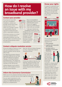 How do I resolve an issue with my broadband provider?
